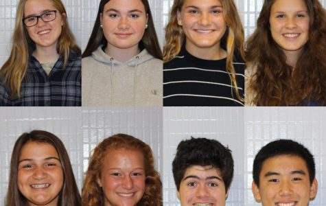 Class of 2022 student body officers—(from left to right) (top): Sarah McMahon (student rep), Sophie Strozier (student rep), Claire Nistl (treasurer), Claire Kurja (VP). (bottom): Jessi Cooper (president), Meryn DeSimone (student rep), Owen Bailey (student rep), Ryan Luo (secretary), not pictured: Grace Rebello (student rep).