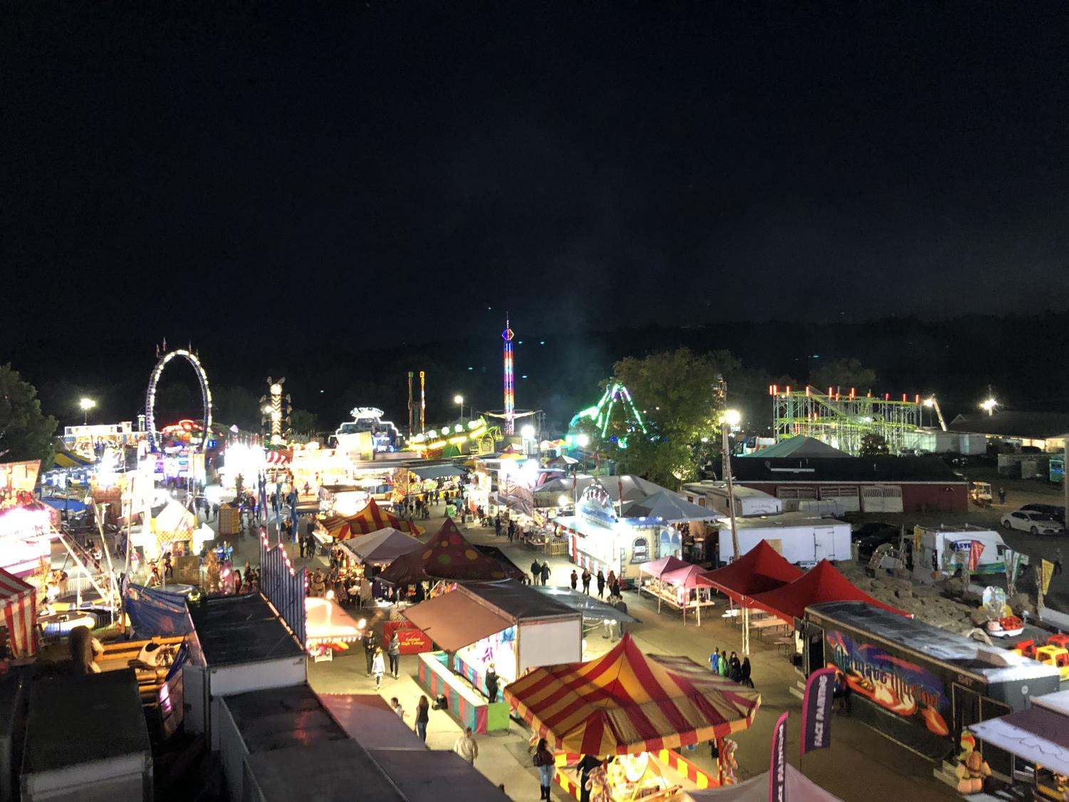 Aerial view of the fair at night