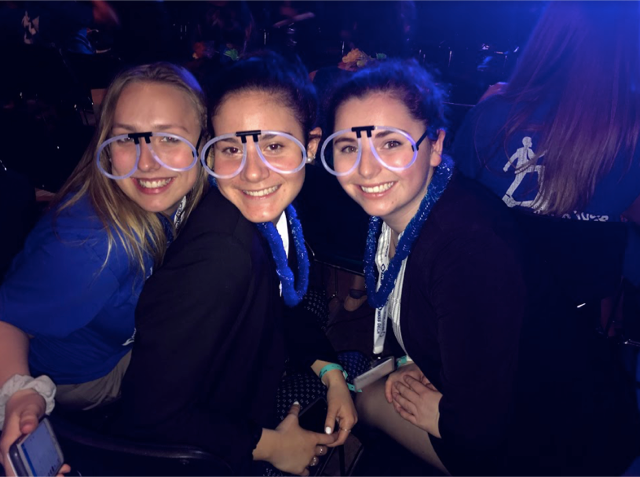 Chloe Belliveau, Valerie Wise, and Lauren Verge at the 2018 DECA State competition.