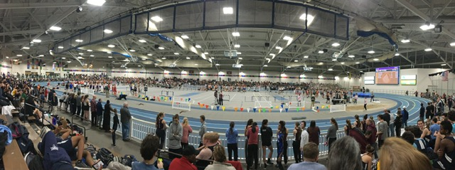 A panoramic view of the Reggie Lewis Center in Boston.