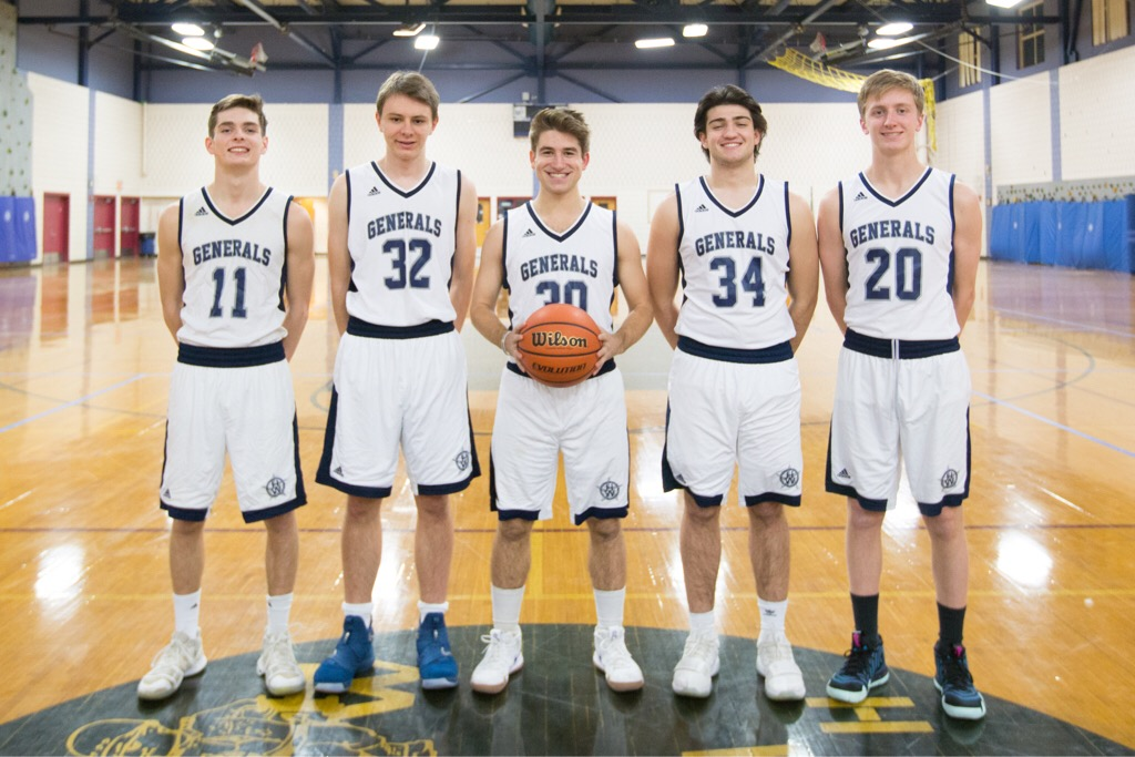 The boys varsity basketball seniors. Left to right: Billy Whelan '19, Thor Messer '19, Nick Glovsky '19, Michael Moynihan '19, Paul Horgan '19
