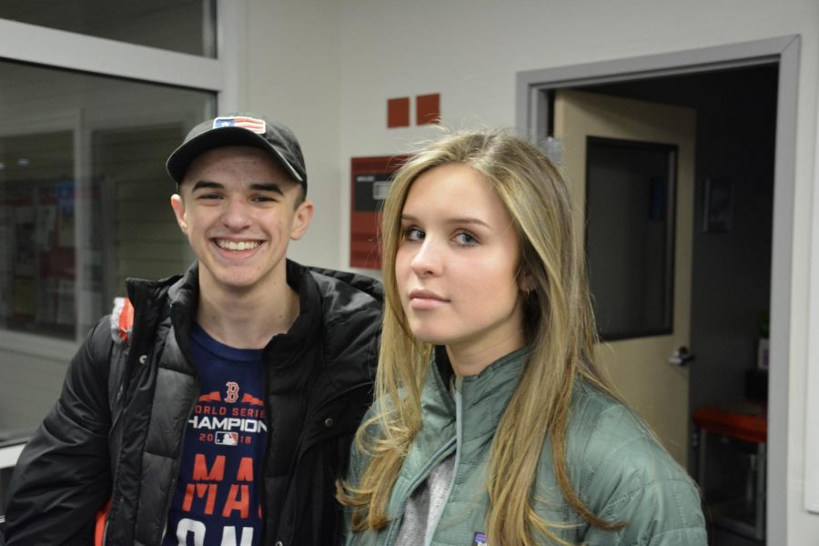 Star player Tyler Vesey ('19) and devoted fan Olivia Kurja ('19)