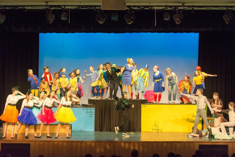 The cast on the stage for Seussical.