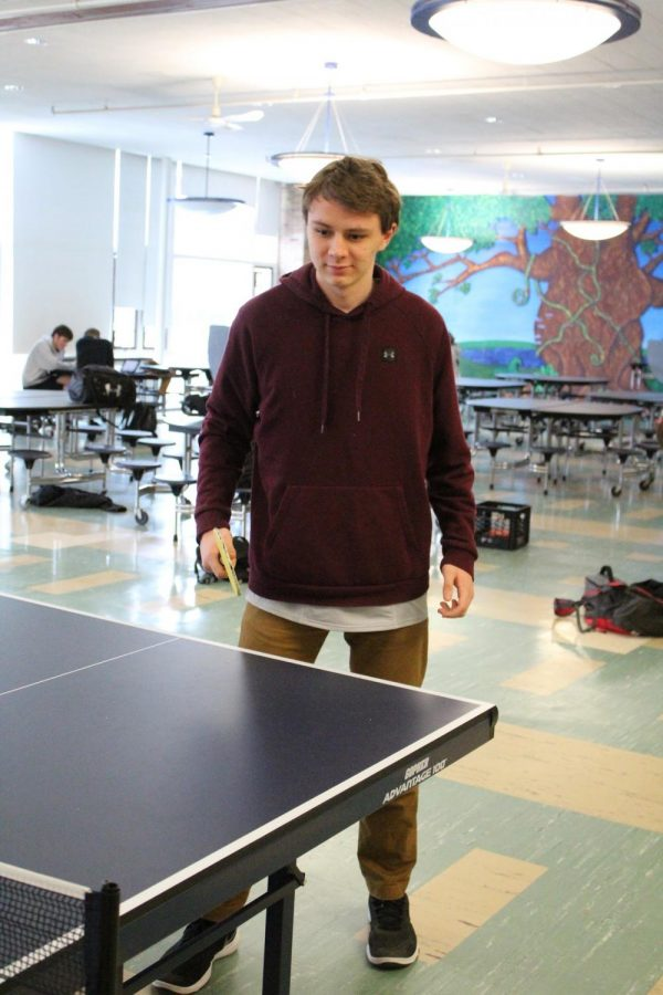 Thor Messer on Day 2 of the HWRHS Annual Ping Pong Tournament.