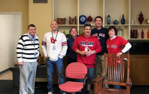 Mr. Ingram, Mr. Veling, Ms. Losee, Mr. Lesalva, Mr. Hickey, and Ms. Sano in the Teachers' Lounge celebrating opening day.