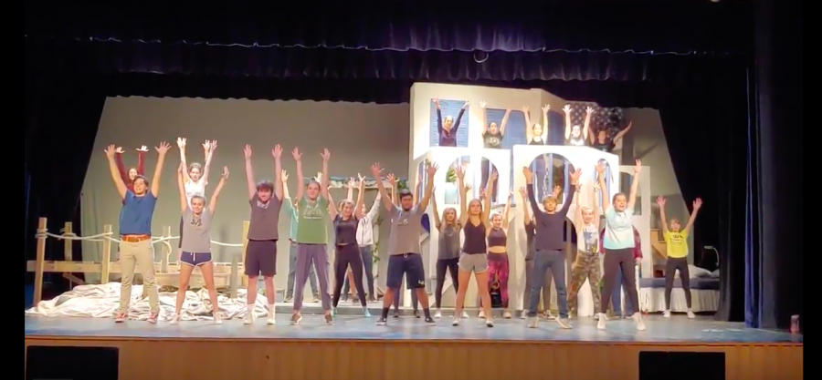 Students rehearse for Mamma Mia!
