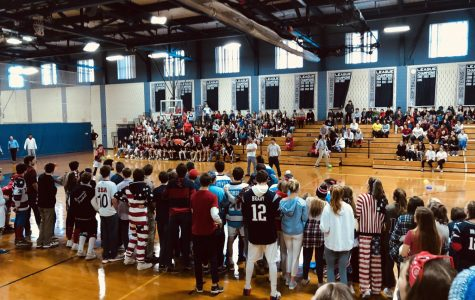 Senior line the court during a tense dodgeball game against the Juniors.