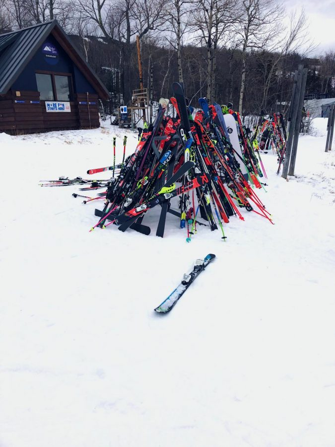 High school race equipment at Sugarloaf mountain in Maine