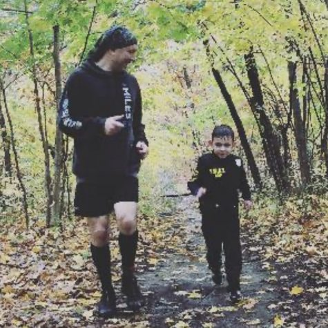 David Veling runs a 5k with his son.