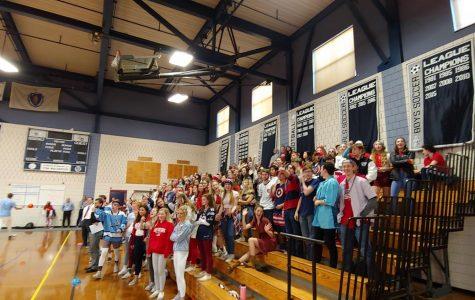 Seniors cheer passionately for their dodgeball team