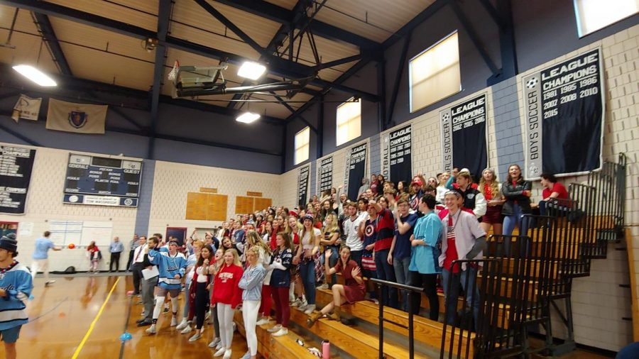 Seniors cheer passionately for their dodgeball team