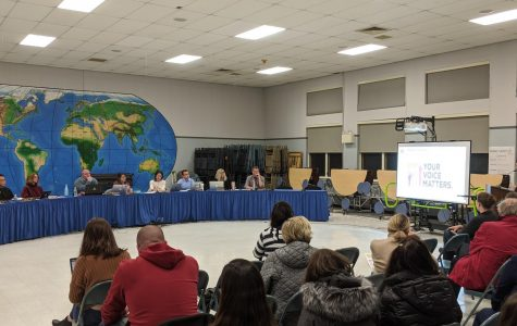 The Hamilton-Wenham School Committee and members of school administration hear comments from community members on the school budget.  From Left to Right: Gene Lee, Michelle Horgan, David Polito, Michelle Bailey, Julie Kukenberger, Vincent Leone, Stacey Metternick, and Peter Wolczik. Not pictured but present: Tai Pryjma.