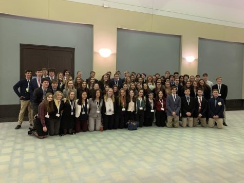 Hamilton Wenham DECA students about to go into an awards session