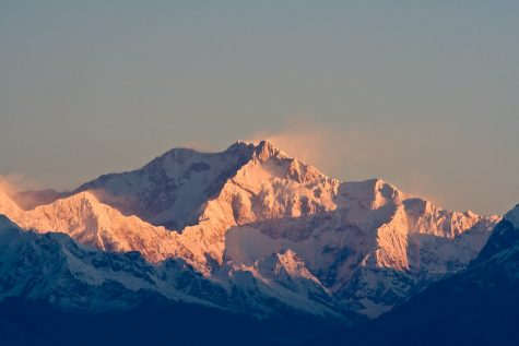 The Himalayan skyline from Darjeeling in West Bengal India.