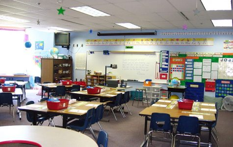 An empty elementary classroom in Alaska.
