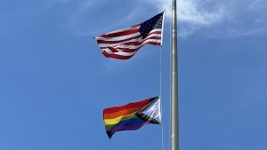 The progress flag was hung up and on display beside the American flag at Hamilton Wenham Regional High School.